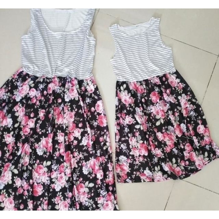 Floral Skirt and Striped Tees for Mother and Daughter