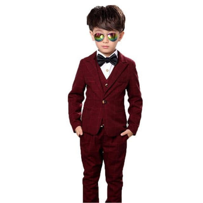 Full Blazer Tuxedo Suit Set for Boys - Wine Red / 18-24 months