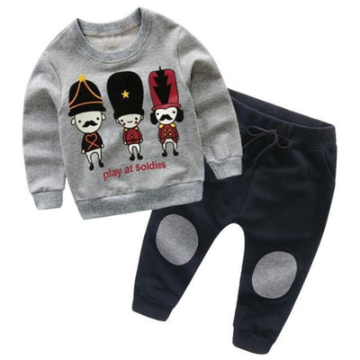 Full Sleeve Autumn Unisex Clothing Set - Gray / 18-24 months