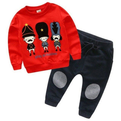 Full Sleeve Autumn Unisex Clothing Set - Red / 18-24 months