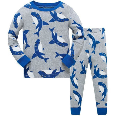 Full Sleeve Cotton Cartoon Unisex Pajamas - Blue + Gray / 2-3 years