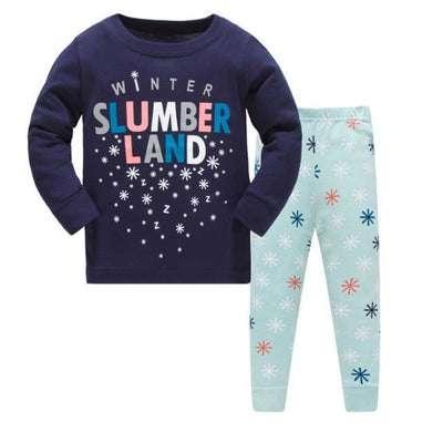 Full Sleeve Cotton Cartoon Unisex Pajamas - Navy Blue / 2-3 years