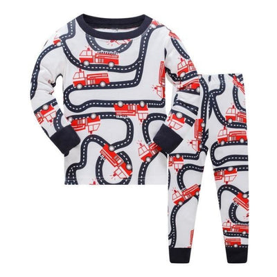 Full Sleeve Cotton Cartoon Unisex Pajamas - White + Red / 2-3 years