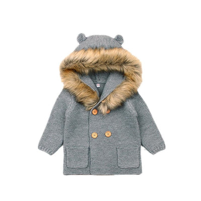 Fur Collared Thick Winter Jacket for Toddler Kids Unisex
