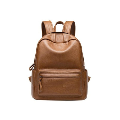 Genuine Leather Maternity Travel Backpack for Moms - Brown