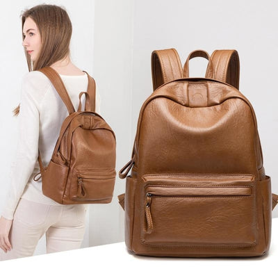 Genuine Leather Maternity Travel Backpack for Moms