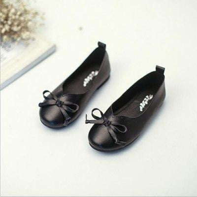 Genuine Leather Slip-on Bow Princess Shoes for New Borns - Black / 2 / 0-6 Months