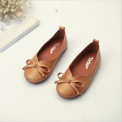 Genuine Leather Slip-on Bow Princess Shoes for New Borns - Brown / 2 / 0-6 Months