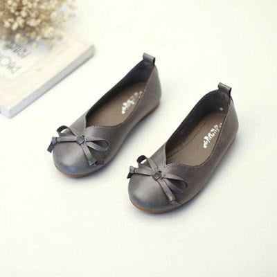 Genuine Leather Slip-on Bow Princess Shoes for New Borns - Gray / 2 / 0-6 Months