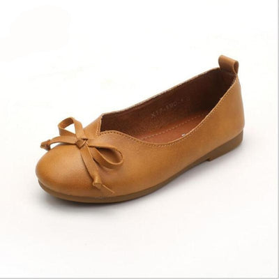 Genuine Leather Slip-on Bow Princess Shoes for New Borns