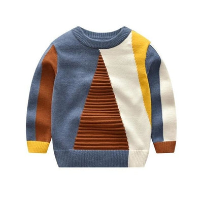 Geometric Pattern Winter Sweater for Kids Unisex - blue brown / 4-5 years