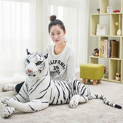 Giant Stuffed Plush Tiger Toy - 90 cm / white