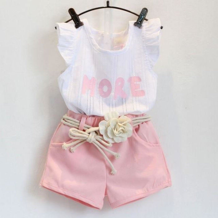 Girls 2 Pcs Set Floral Chiffon Shirt + Pants Summer Clothing Set Baby Girl Outfit Children Clothes Kids Fashion Clothes