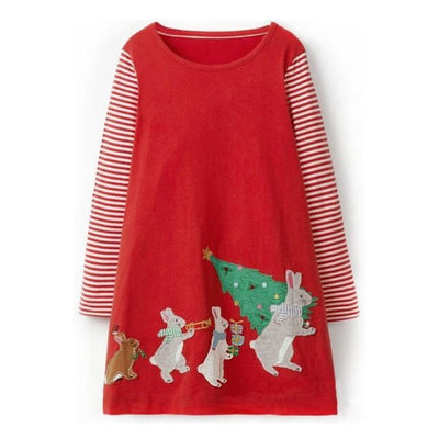 Girls Dress with Animal Applique Long Sleeve