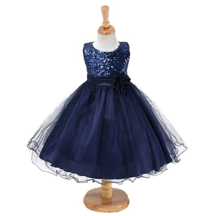 Girls Flower Sequin Dress