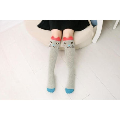 Girls Knee Length 3D Printed Cat Socks - style 2 / Free Size 3 to 12 Y