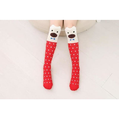 Girls Knee Length 3D Printed Cat Socks - style 3 / Free Size 3 to 12 Y