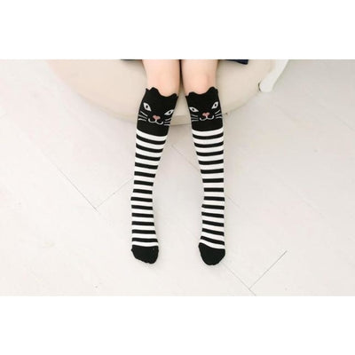 Girls Knee Length 3D Printed Cat Socks - style 5 / Free Size 3 to 12 Y