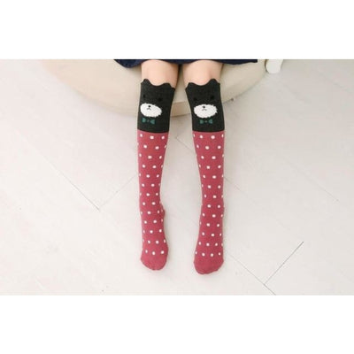 Girls Knee Length 3D Printed Cat Socks - style 6 / Free Size 3 to 12 Y