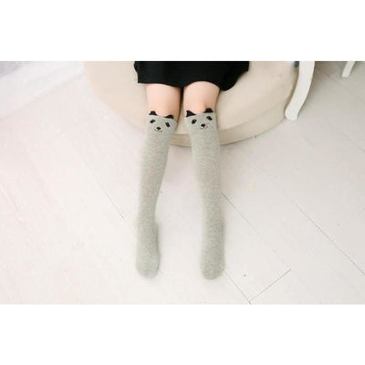 Girls Knee Length 3D Printed Cat Socks - style 8 / Free Size 3 to 12 Y