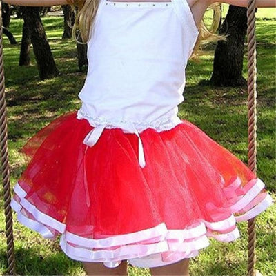 Girls Lace Tutu Skirt - Red / 18-24 months
