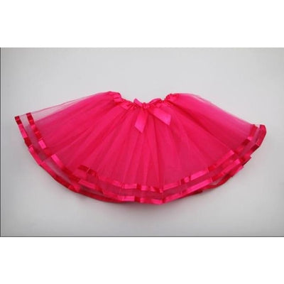 Girls Lace Tutu Skirt - Rose Red / 18-24 months