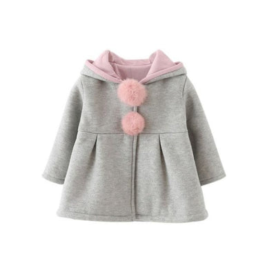 Girls Long Sleeve Coat Jacket Baby Casual Outerwear - Gray / 3-4 years