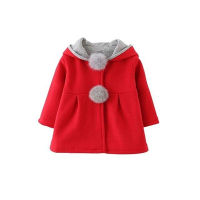 Girls Long Sleeve Coat Jacket Baby Casual Outerwear - Red / 3-4 years