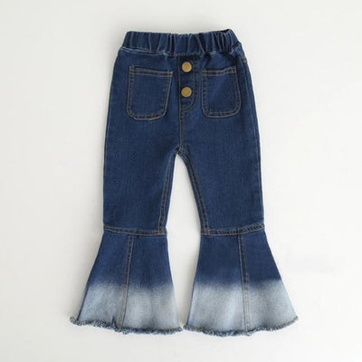 Girls Retro Bell-bottomed Casual Jeans - Blue 2 / 18-24 months