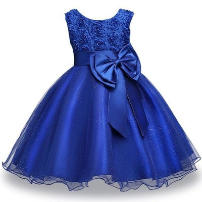 Girls Sequin Sleeveless Baptism/Birthday Dress - Dark blue / 18-24 months