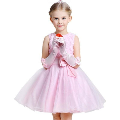 Girls Sequin Sleeveless Baptism/Birthday Dress - Pink / 18-24 months