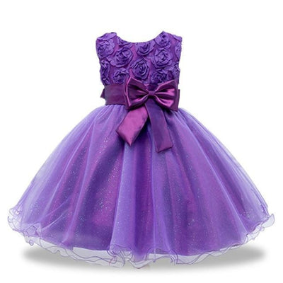 Girls Sequin Sleeveless Baptism/Birthday Dress - purple / 18-24 months