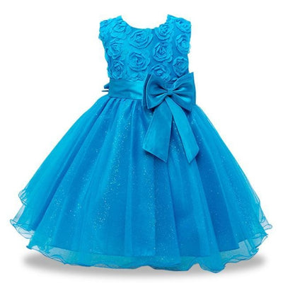Girls Sequin Sleeveless Baptism/Birthday Dress - Sky blue / 18-24 months