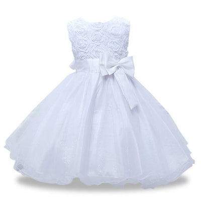 Girls Sequin Sleeveless Baptism/Birthday Dress - white 1 / 18-24 months