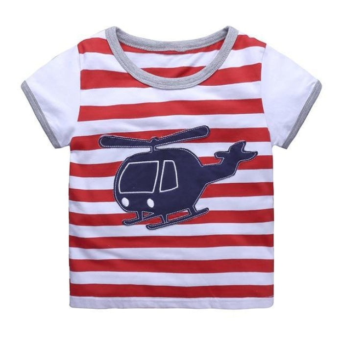Helicopter Red Stripes T-Shirt Kids Unisex - White + Red / 2-3 years