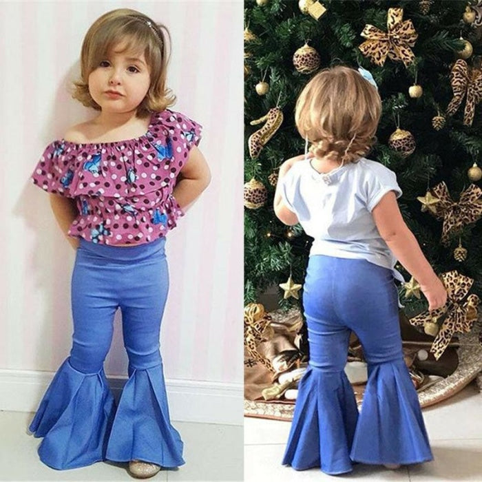 High Waist Denim Bell Bottoms Trousers for Girl