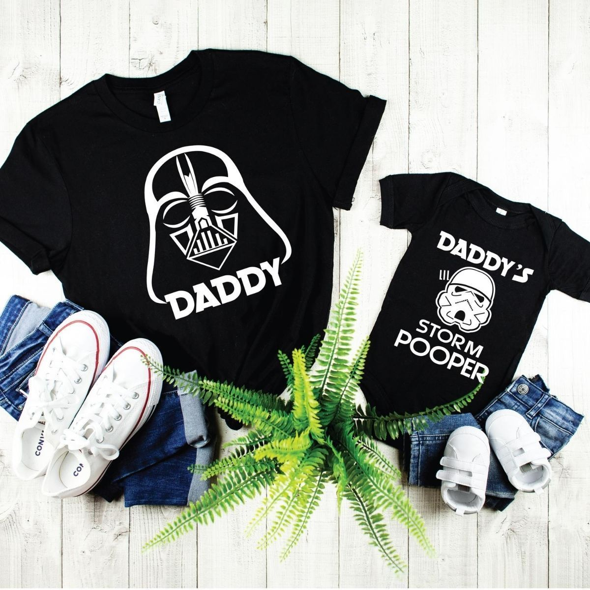 Hilarious Star Wars Storm Pooper Matching Shirt Onesie for Father Son Daughter - New Born Onesie / Black