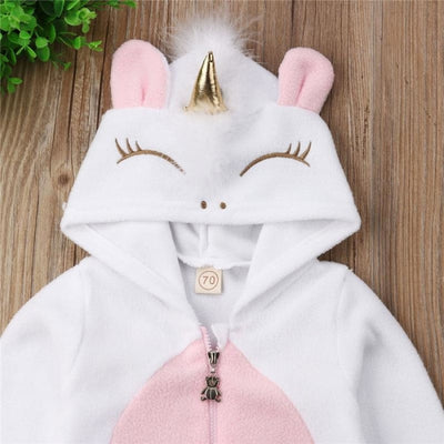 Hooded Cartoon Rompers for Baby Girl