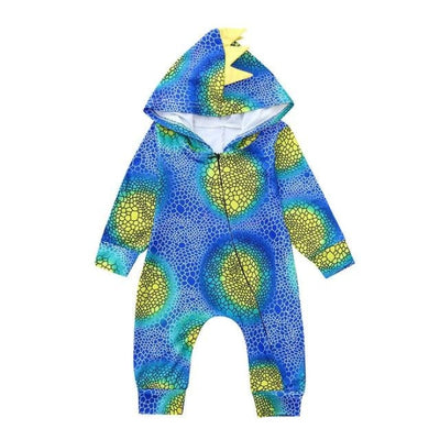 Hooded Dinosaur Rompers for Baby Boy - Blue / 3-6 Months