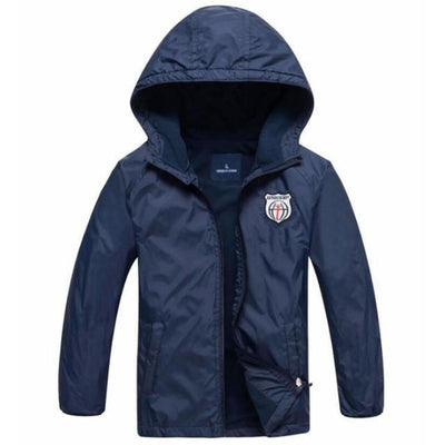 Hooded Sports Fleece Jacket for Toddlers - dark blue / 18-24 months
