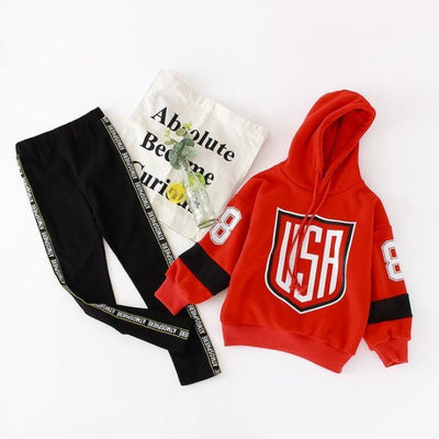 Hooded USA Pattern Cotton Pullover Set for Girls - Red / 4-5 years