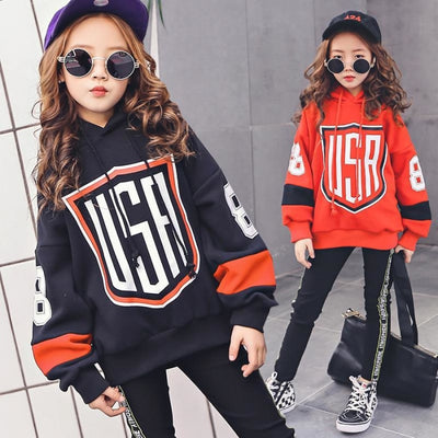 Hooded USA Pattern Cotton Pullover Set for Girls