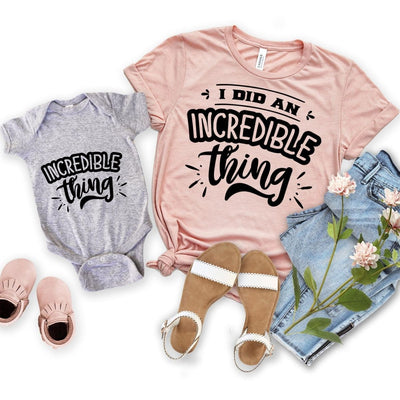 Incredible thing Matching Shirt Onesie for Mother and Daughter - New Born Onesie / Gray