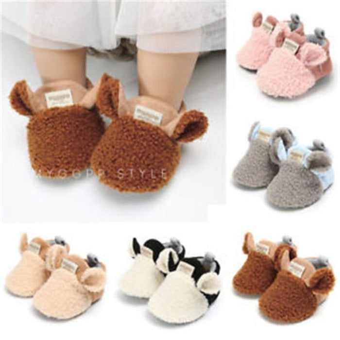 Infant Babys Crib Slippers with Soft Sole & Bowknot