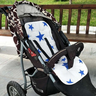 Infants Comfortable Soft Cotton Cart Mat for Strollers & Pushchairs - Blue stars