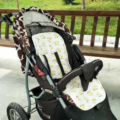 Infants Comfortable Soft Cotton Cart Mat for Strollers & Pushchairs - Yellow little fox