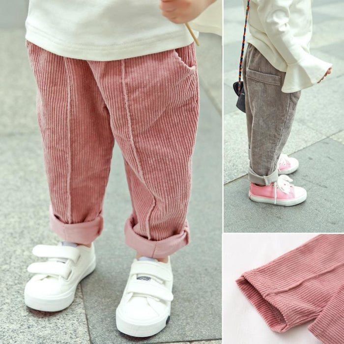 Kids Casual Cotton Corduroy Trousers