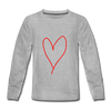 Kids' Premium Long Sleeve T-Shirt heart print 2 - heather gray