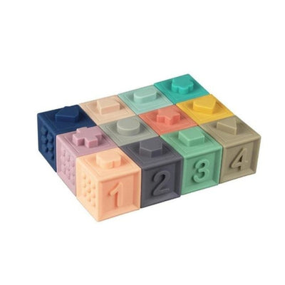 Kids Soft Rubber Vinyl Embossed Building Blocks Educational Toys - B