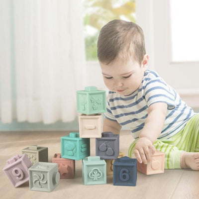 Kids Soft Rubber Vinyl Embossed Building Blocks Educational Toys